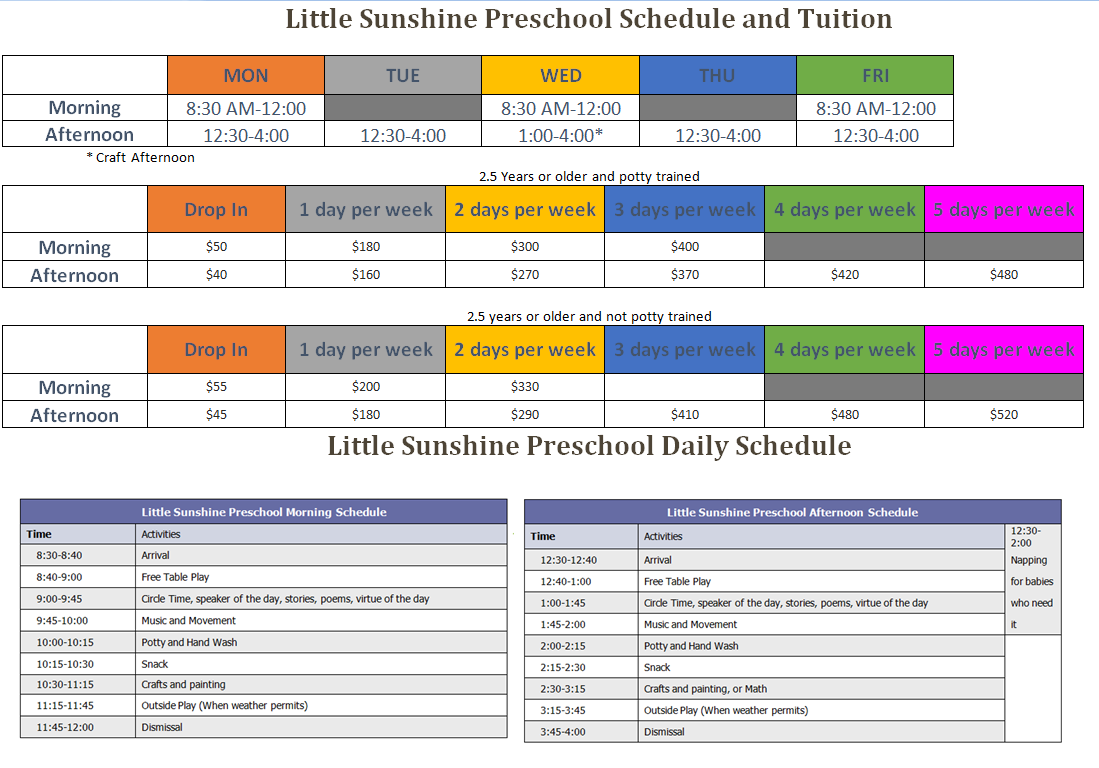 Preschool Schedule, Tuition and Daily Schedule – Little Sunshine ...